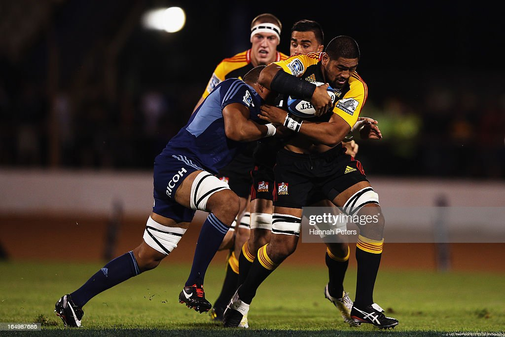Michael Fitzgerald of the Chiefs charges forward during the round seven Super Rugby match between the Chiefs and the Blues at Bay Park on March 30, 2013 in Tauranga, New Zealand.