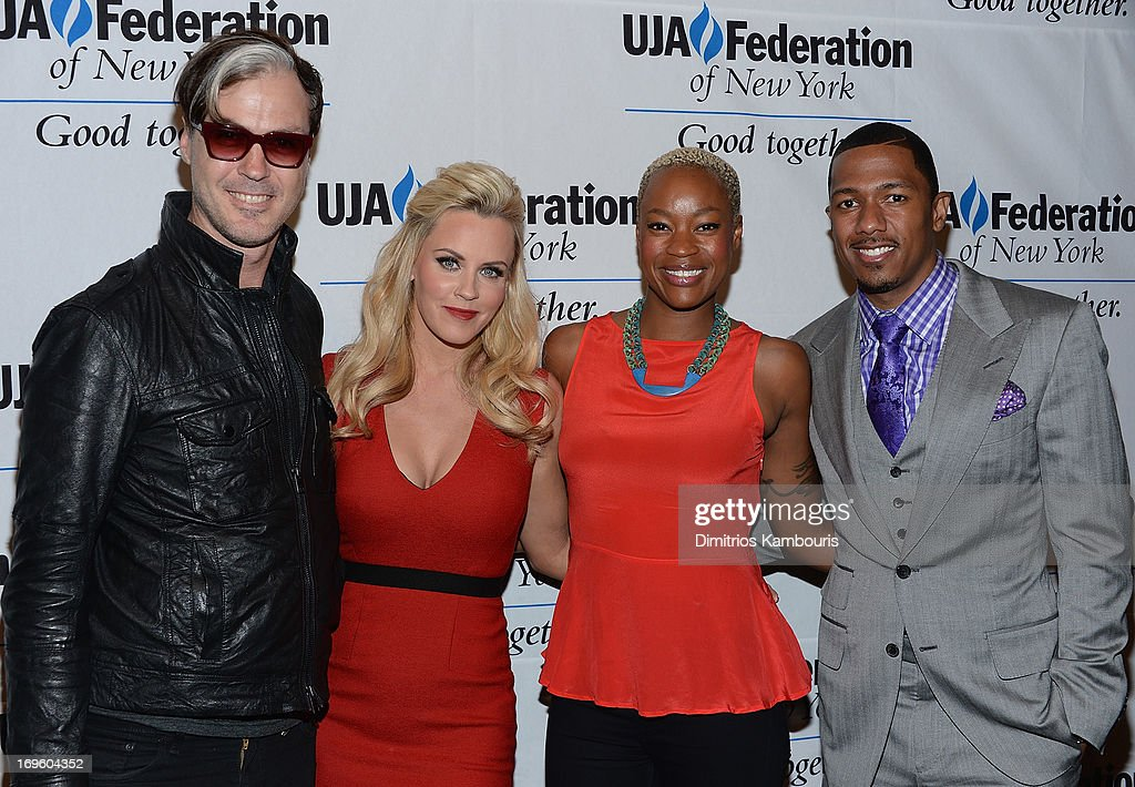 Michael Fitzpatrick of Fitz and the Tantrums, <a gi-track='captionPersonalityLinkClicked' href=/galleries/search?phrase=Jenny+McCarthy&family=editorial&specificpeople=202900 ng-click='$event.stopPropagation()'>Jenny McCarthy</a>, <a gi-track='captionPersonalityLinkClicked' href=/galleries/search?phrase=Noelle+Scaggs&family=editorial&specificpeople=7141731 ng-click='$event.stopPropagation()'>Noelle Scaggs</a> and <a gi-track='captionPersonalityLinkClicked' href=/galleries/search?phrase=Nick+Cannon&family=editorial&specificpeople=202208 ng-click='$event.stopPropagation()'>Nick Cannon</a> attend the UJA-Federation Of New York Entertainment, Media And Communications Leadership Awards Dinner at Pier Sixty at Chelsea Piers on May 28, 2013 in New York City.