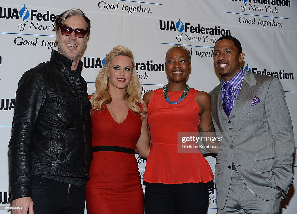 Michael Fitzpatrick of Fitz and the Tantrums, Jenny McCarthy, Noelle Scaggs and Nick Cannon attend the UJA-Federation Of New York Entertainment, Media And Communications Leadership Awards Dinner at Pier Sixty at Chelsea Piers on May 28, 2013 in New York City.