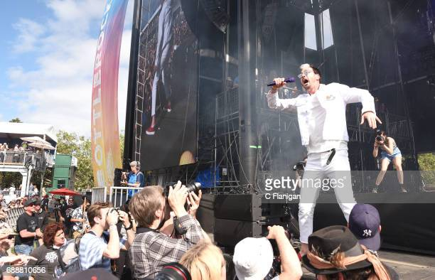 Michael Fitzpatrick of Fitz and the Tantrums performs during the 2017 BottleRock Napa Valley Festival on May 26 2017 in Napa California
