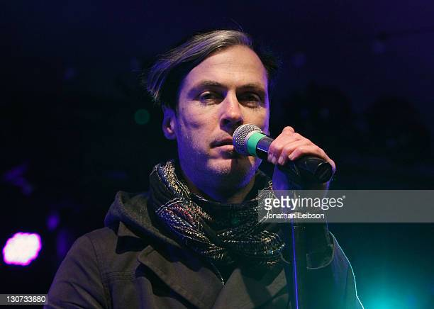 Michael Fitzpatrick of Fitz and The Tantrums performs during the Voodoo Experience 2011 at City Park on October 28 2011 in New Orleans Louisiana