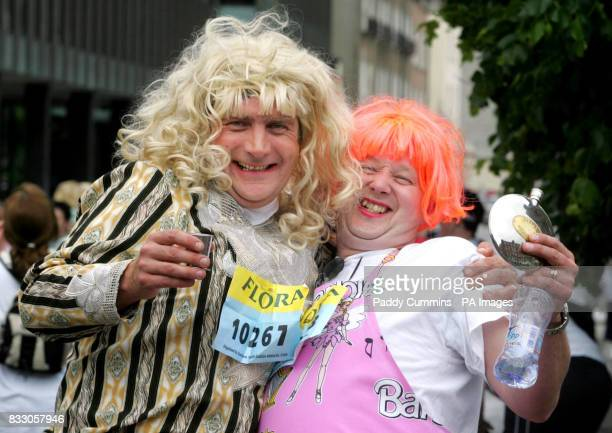 Michael Flanagan from Sligo and Kieran Moylan from Tubercurry share a drink before taking part in the Flora Women's Mini Marathon in Dublin