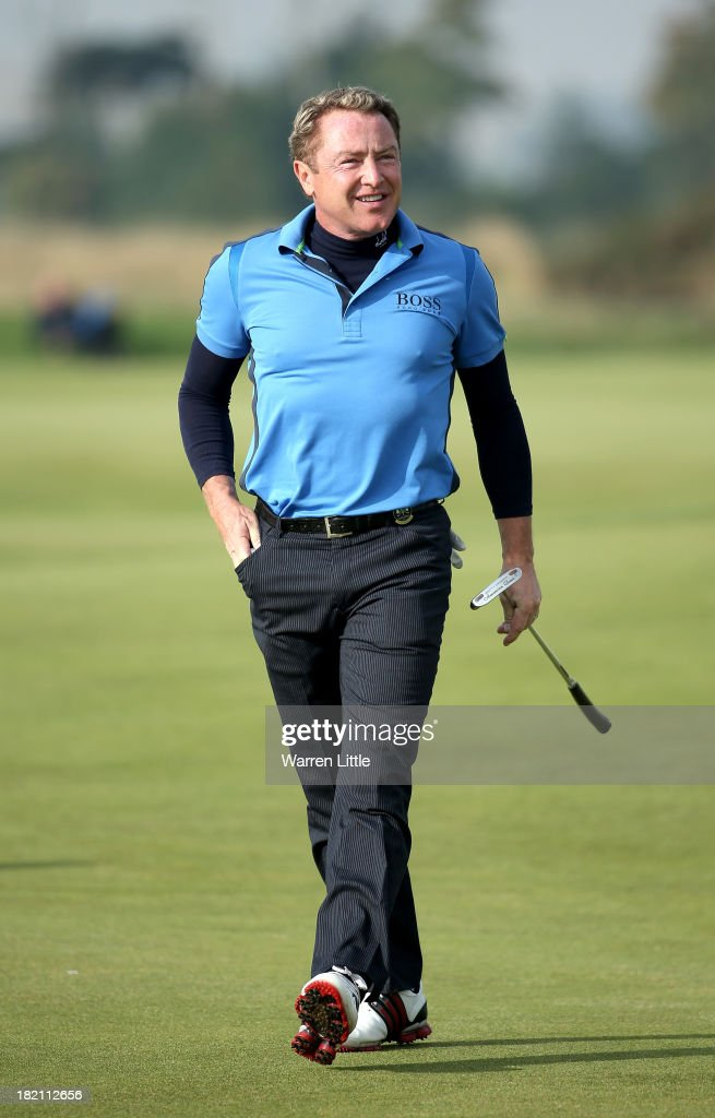<a gi-track='captionPersonalityLinkClicked' href=/galleries/search?phrase=Michael+Flatley&family=editorial&specificpeople=593199 ng-click='$event.stopPropagation()'>Michael Flatley</a> during the third round of the Alfred Dunhill Links Championship on The Old Course, at St Andrews on September 28, 2013 in St Andrews, Scotland.