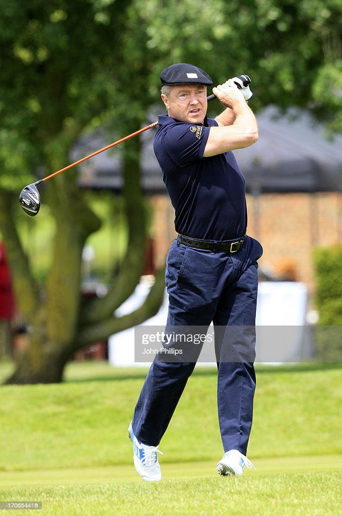 <a gi-track='captionPersonalityLinkClicked' href=/galleries/search?phrase=Michael+Flatley&family=editorial&specificpeople=593199 ng-click='$event.stopPropagation()'>Michael Flatley</a> plays a tee shot during the Affinity Real Estate Shooting Stars First Round at The Grove Hotel on June 14, 2013 in Hertford, England.