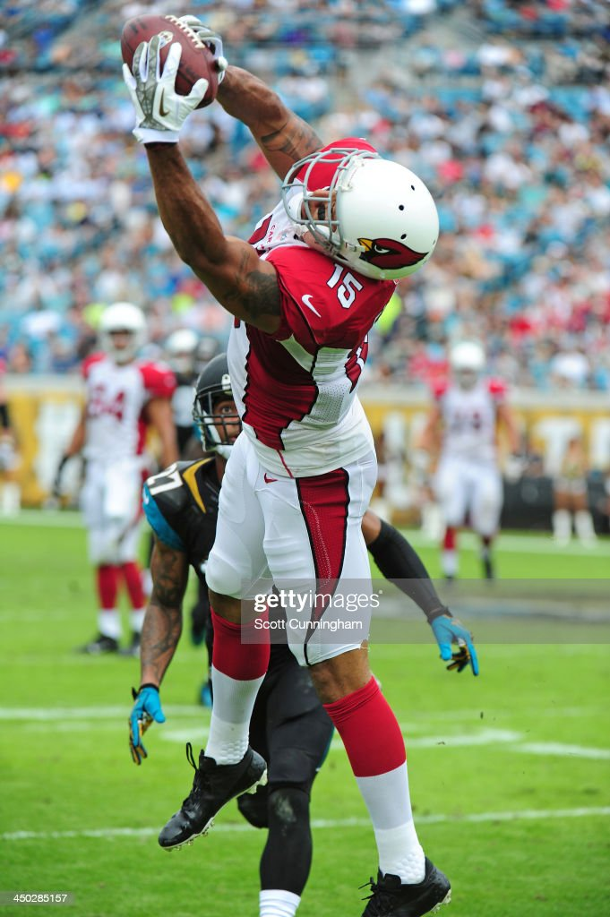 Michael Floyd #15 of the Arizona Cardinals makes a catch against the Jacksonville Jaguars at EverBank Field on November 17, 2013 in Jacksonville, Florida.