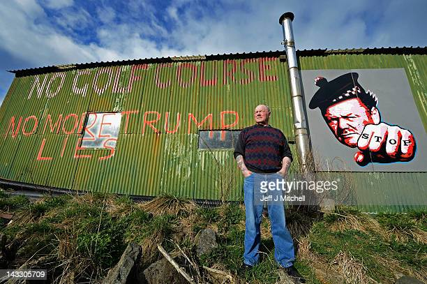 Michael Forbes stands beside his shed near to Donald Trump's golf course which is currently under construction on the Menie estate on April 23 2012...