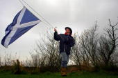 Michael Forbes stands on his property which he is refusing to sell to Donald Trump next to the Menie Estate on November 21 2007 in Aberdeenshire...
