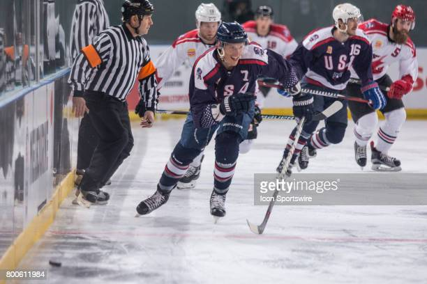 Michael Forney of Team USA chases down the puck during the Melbourne Game of the Ice Hockey Classic on June 24 2017 held at Hisence Arena Melbourne...