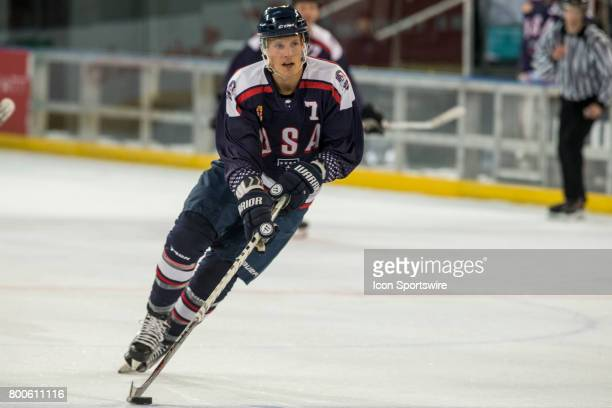 Michael Forney of Team USA controls the puck during the Melbourne Game of the Ice Hockey Classic on June 24 2017 held at Hisence Arena Melbourne...