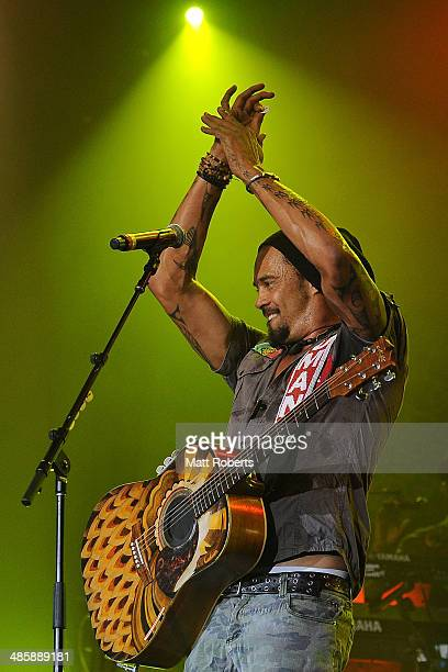 Michael Franti and Spearhead performs live for fans at the 2014 Byron Bay Bluesfest on April 21 2014 in Byron Bay Australia