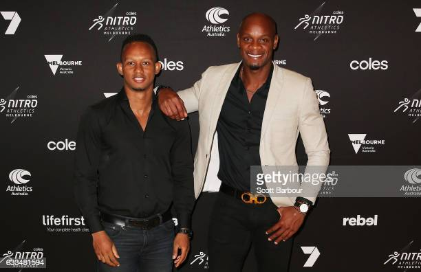 Michael Frater and Asafa Powell arrive ahead of the Nitro Athletics Gala Dinner at Crown Palladium on February 2 2017 in Melbourne Australia