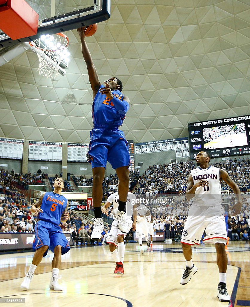Michael Frazier II #20 of the Florida Gators goes up for a layup in the first half against the Connecticut Huskies during the game at Harry A. Gampel Pavilion on December 2, 2013 in Storrs, Connecticut.