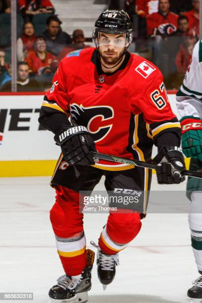 Michael Frolik of the Calgary Flames in an NHL game against the Minnesota Wild at the Scotiabank Saddledome on October 21 2017 in Calgary Alberta...