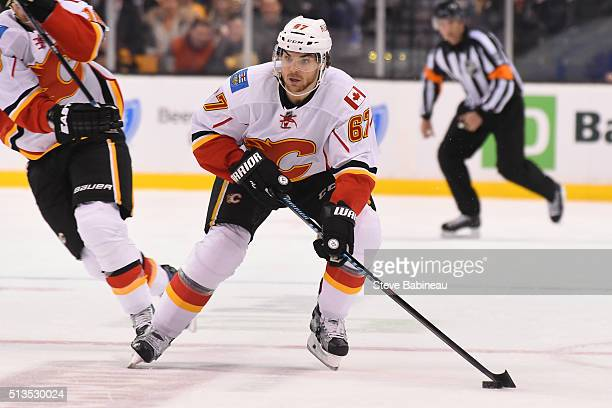 Michael Frolik of the Calgary Flames skates against the Boston Bruins at the TD Garden on March 1 2016 in Boston Massachusetts