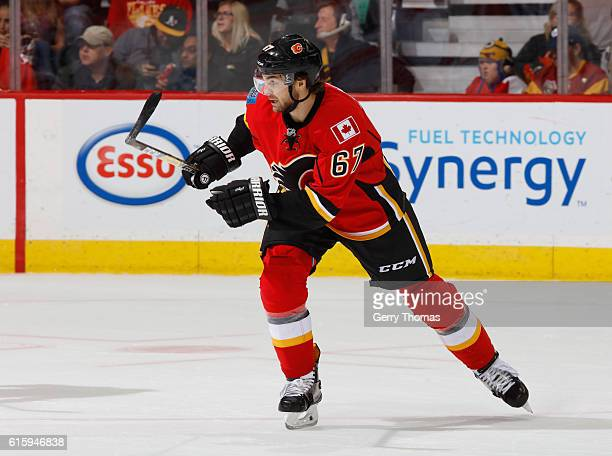 Michael Frolik of the Calgary Flames skates against the Carolina Hurricanes at Scotiabank Saddledome on October 20 2016 in Calgary Alberta Canada