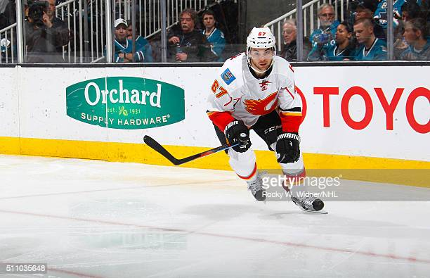 Michael Frolik of the Calgary Flames skates against the San Jose Sharks at SAP Center on February 11 2016 in San Jose California