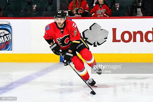 Michael Frolik of the Calgary Flames skates in the warmup before an NHL game against the Minnesota Wild on December 2 2016 at the Scotiabank...