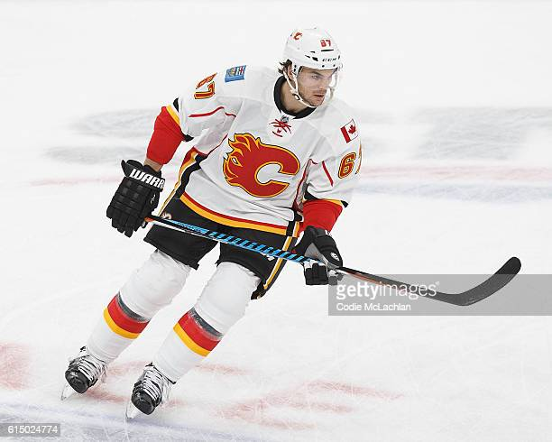Michael Frolik of the Calgary Flames warms up before the Edmonton Oilers' home opener on October 12 2016 at Rogers Place in Edmonton Alberta Canada