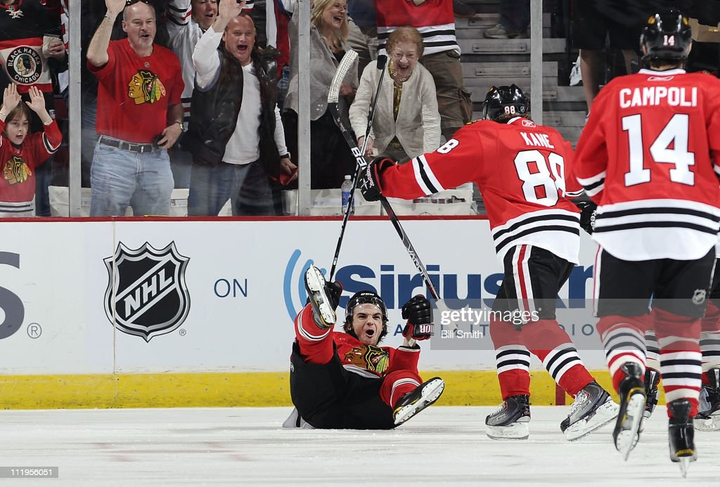 <a gi-track='captionPersonalityLinkClicked' href=/galleries/search?phrase=Michael+Frolik&family=editorial&specificpeople=537965 ng-click='$event.stopPropagation()'>Michael Frolik</a> #67 of the Chicago Blackhawks reacts after scoring the first goal of the game against the Detroit Red Wings on April 10, 2011 at the United Center in Chicago, Illinois.