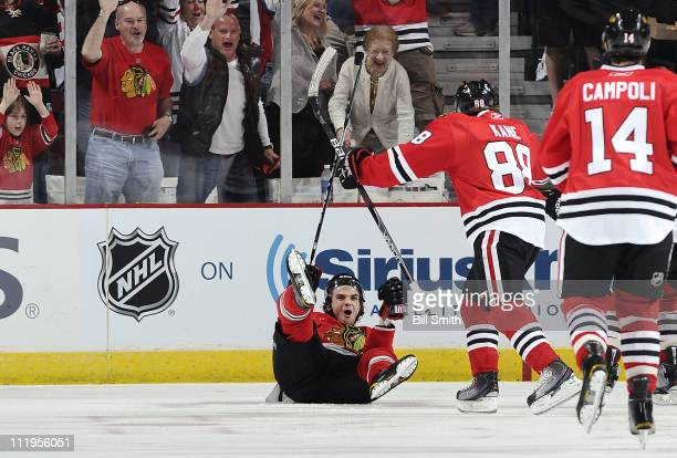 Michael Frolik of the Chicago Blackhawks reacts after scoring the first goal of the game against the Detroit Red Wings on April 10 2011 at the United...