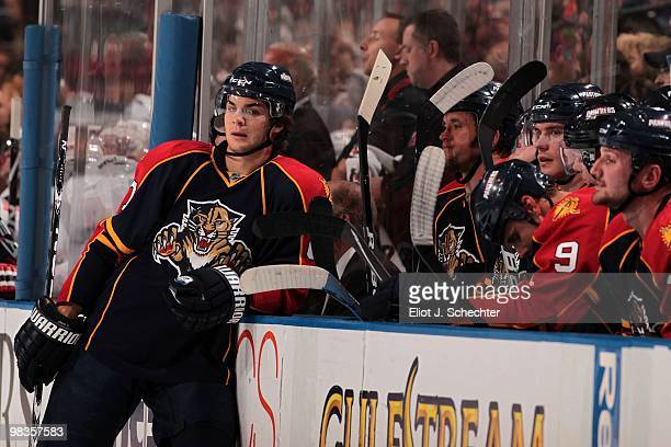 Michael Frolik of the Florida Panthers leans against the boards during a break in the action against the New Jersey Devils at the BankAtlantic Center...