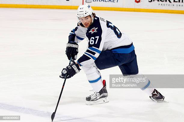 Michael Frolik of the Winnipeg Jets skates against the Minnesota Wild during the game on April 6 2015 at the Xcel Energy Center in St Paul Minnesota