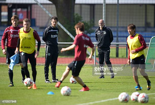Michael Frontzeck newly announced Head Coach of Hanover 96 attends a training session at HDIArena on April 21 2015 in Hanover Germany Frontzeck...