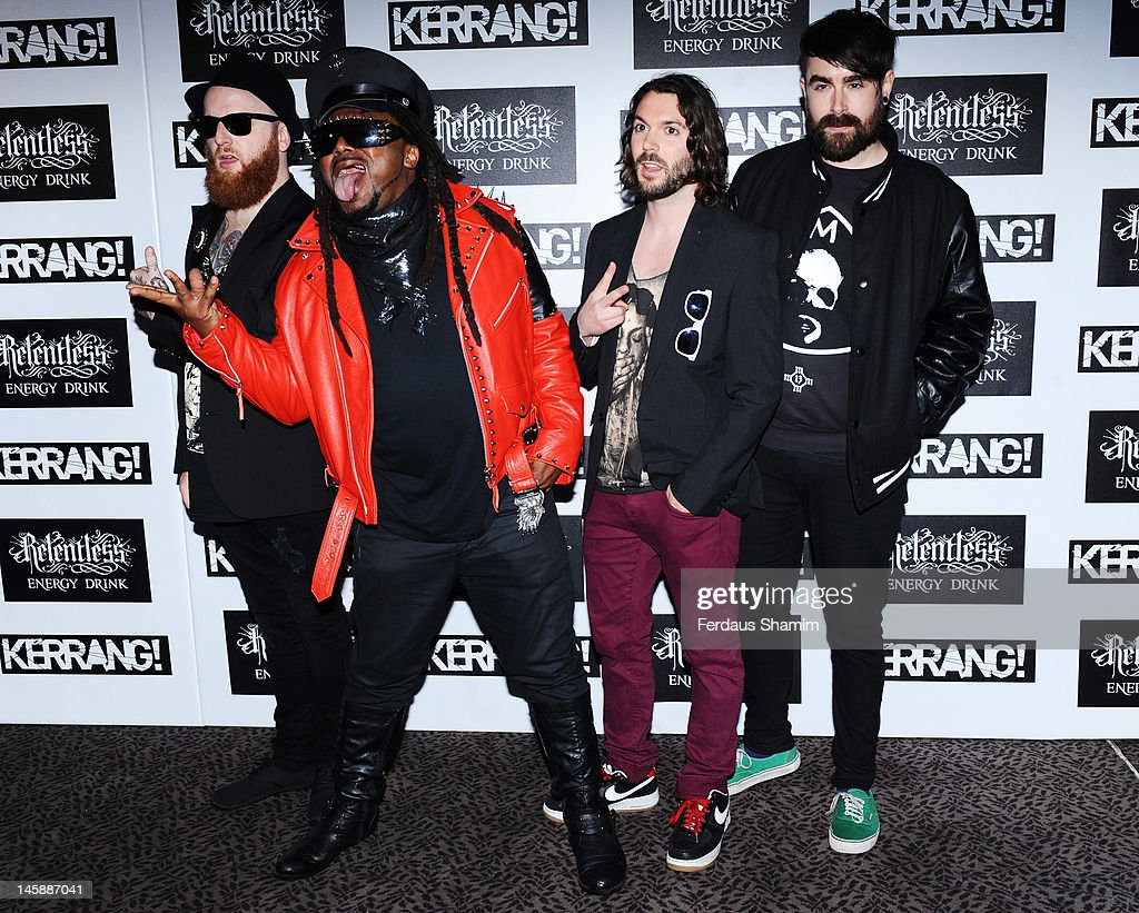 Michael Fry, Benji Webbe, Arya Goggin and Daniel Pugsley of Skindred attend the Kerrang! Awards at The Brewery on June 7, 2012 in London, England.