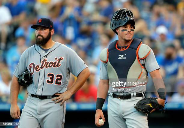 Michael Fulmer and James McCann of the Detroit Tigers look on in disbelief after a series of errors allowed the Kansas City Royals to score 4 runs...