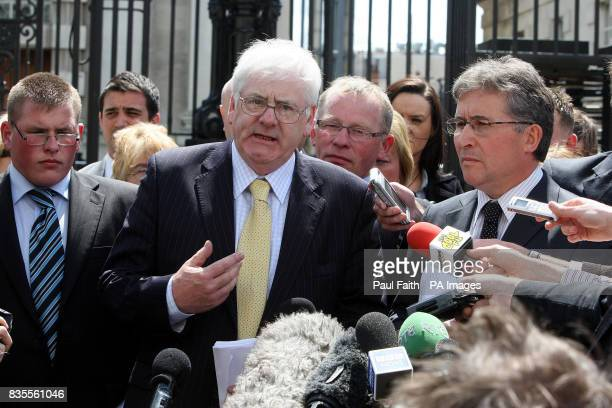 Michael Gallagher and Victor Barker with the Judgement outside Belfast High Court where relatives of the Omagh bomb victims today won a landmark...