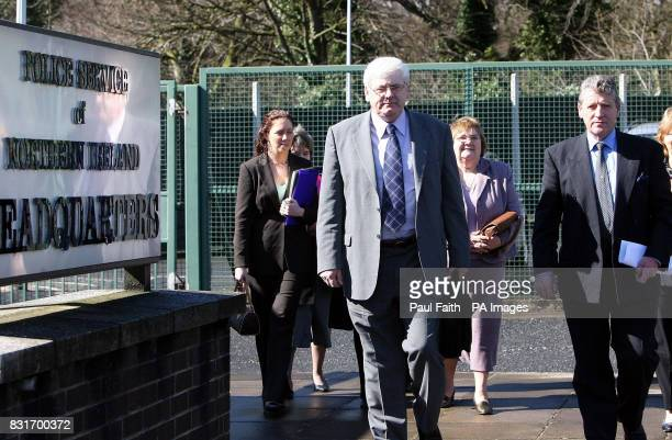 Michael Gallagher with Stanley McComb lead a delegation of Omagh victims' families after a meeting with Northern Ireland Chief Constable Sir Hugh...