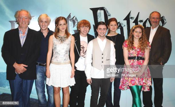Michael Gambon Tom Felton Emma Watson Rupert Grint Daniel Radcliffe Bonnie Wright Jessie Cave and Jim Broadbent are seen at a photocall to launch the...