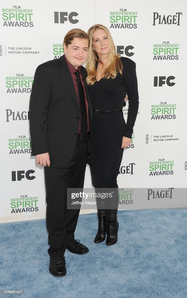 <a gi-track='captionPersonalityLinkClicked' href=/galleries/search?phrase=Michael+Gandolfini&family=editorial&specificpeople=2196017 ng-click='$event.stopPropagation()'>Michael Gandolfini</a> (L) and <a gi-track='captionPersonalityLinkClicked' href=/galleries/search?phrase=Marcy+Wudarski&family=editorial&specificpeople=2196015 ng-click='$event.stopPropagation()'>Marcy Wudarski</a> attend the 2014 Film Independent Spirit Awards at Santa Monica Beach on March 1, 2014 in Santa Monica, California.
