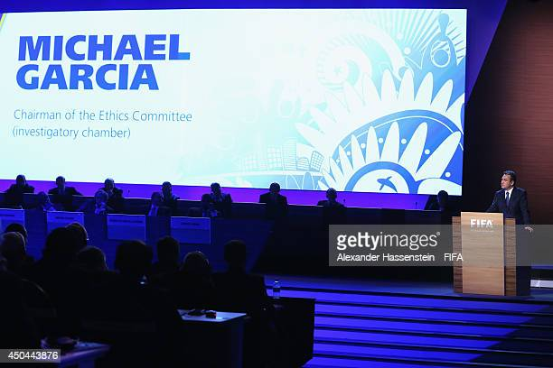 Michael Garcia Chairman of the Ethics Committee speaks during the 64th FIFA Congress at TEC on June 11 2014 in Sao Paulo Brazil