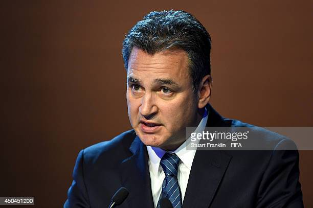 Michael Garcia head of FIFA's ethics committee talks during the 64th FIFA Congress at the Transamerica Expo Center on June 11 2014 in Sao Paulo Brazil