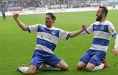 Michael Gardawski of Duisburg and Zlatko Janjic celebrate after scoring during the 3rd Bundesliga match between MSV Duisburg and Holstein Kiel at...