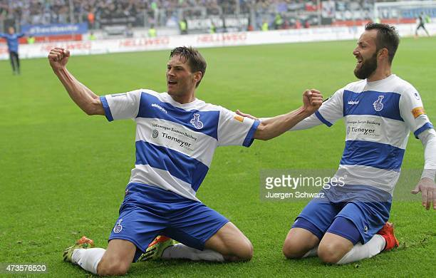 Michael Gardawski of Duisburg and Zlatko Janjic celebrate after scoring during the 3rd Bundesliga match between MSV Duisburg and Holstein Kiel at...