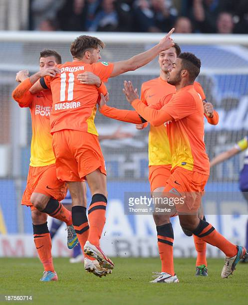 Michael Gardawski of Duisburg celebrates his teams first goal during the Third League match between between VfL Osnabrueck and MSV Duisburg at...