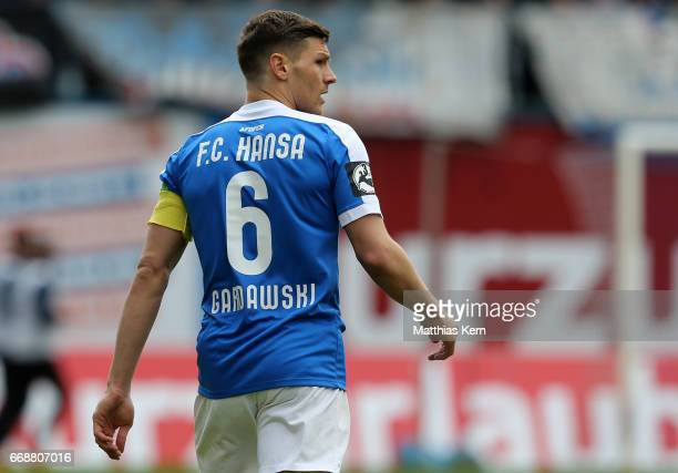 Michael Gardawski of Rostock looks on during the third league match between FC Hansa Rostock and 1FC Magdeburg at Ostseestadion on April 15 2017 in...