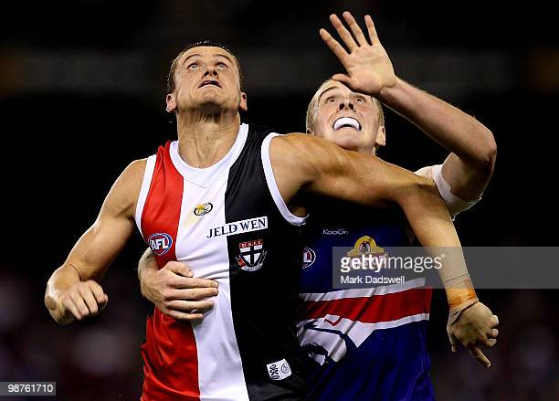 Michael Gardiner of the Saints contests a boundary throw in with Jordan Roughead of the Bulldogs during the round six AFL match between the Western...