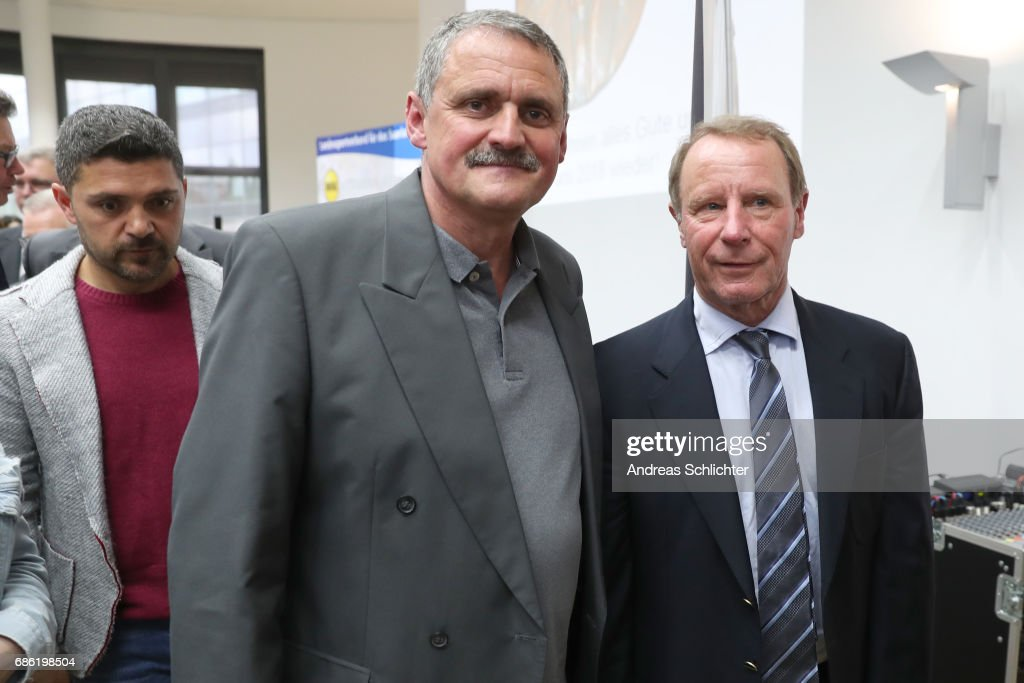 Michael Gerhard and Berti Vogts during the awarding ceremony of Hermann-Neuberger-Award on May 19, 2017 in Saarbruecken, Germany.