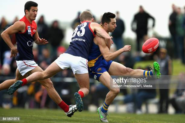 Michael Gibbons of Williamstown kicks during the VFL Qualifying Final match between Williamstown and Casey at Burbank Oval on September 2 2017 in...