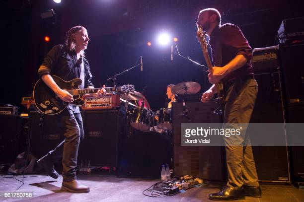 Michael Gira Phil Puleo and Christopher Pravdica of Swans perform on stage at Sala Apolo on October 15 2017 in Barcelona Spain
