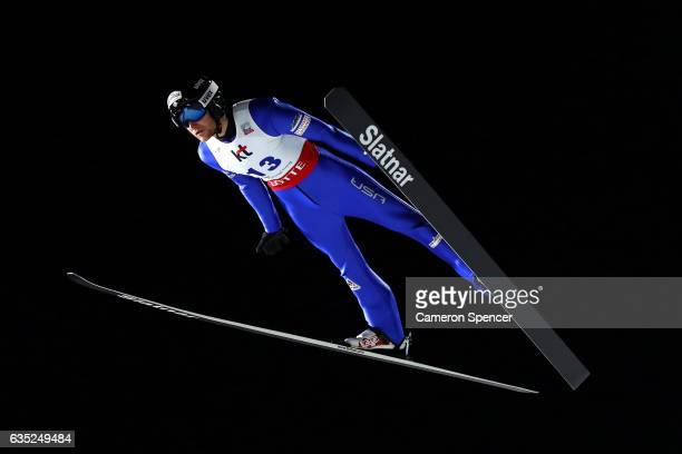 Michael Glasder of USA jumps during trainining for the 2017 FIS Ski Jumping World Cup test event For PyeongChang 2018 at Alpensia Ski Jumping Center...