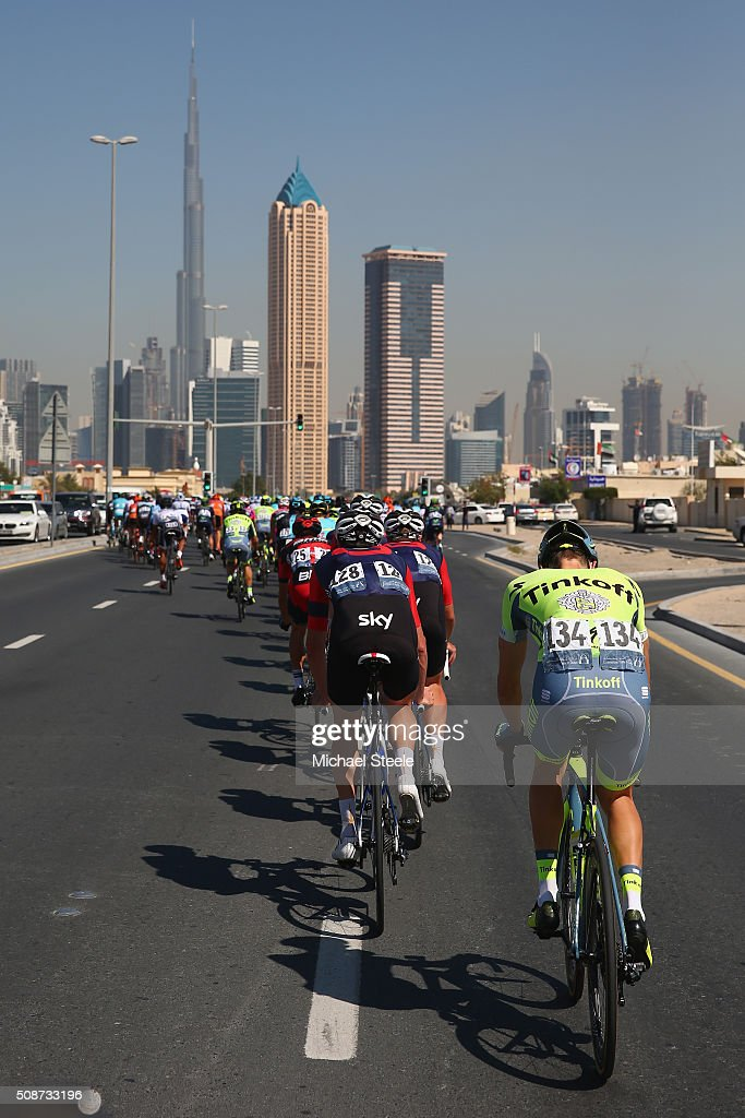 Michael Gogl of Austria and Tinkoff brings up the rear of the peloton as the Burj Khalifa looms ahead during the Business Bay Stage Four of the Tour of Dubai on February 6, 2016 in Dubai, United Arab Emirates.