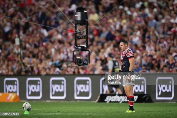 Michael Gordon of the Roosters attempts a conversion as spider cam films during the NRL Preliminary Final match between the Sydney Roosters and the...