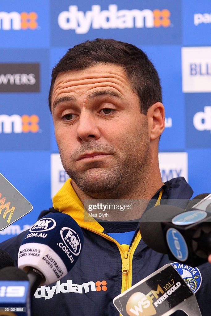 <a gi-track='captionPersonalityLinkClicked' href=/galleries/search?phrase=Michael+Gordon+-+Rugby&family=editorial&specificpeople=4700592 ng-click='$event.stopPropagation()'>Michael Gordon</a> talks to the media during a Parramatta Eels NRL media opportunity at the Eels Training Centre on May 26, 2016 in Sydney, Australia.