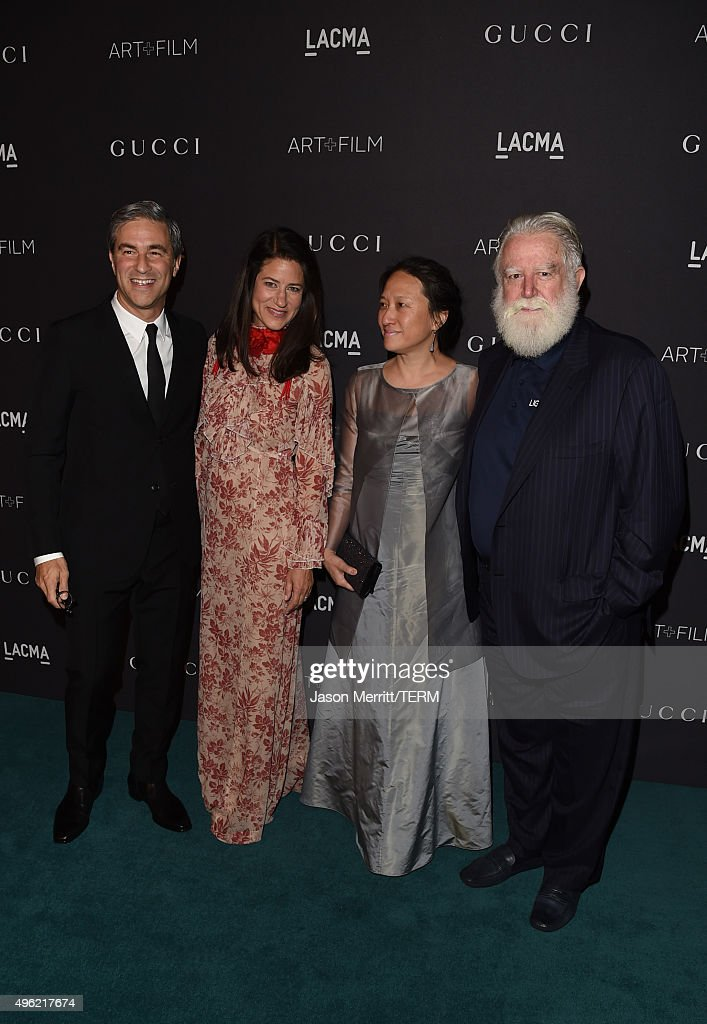 LACMA CEO Michael Govan wearing Gucci Katherine Ross Kyung Turrell and honoree James Turrel attend LACMA 2015 ArtFilm Gala Honoring James Turrell and...