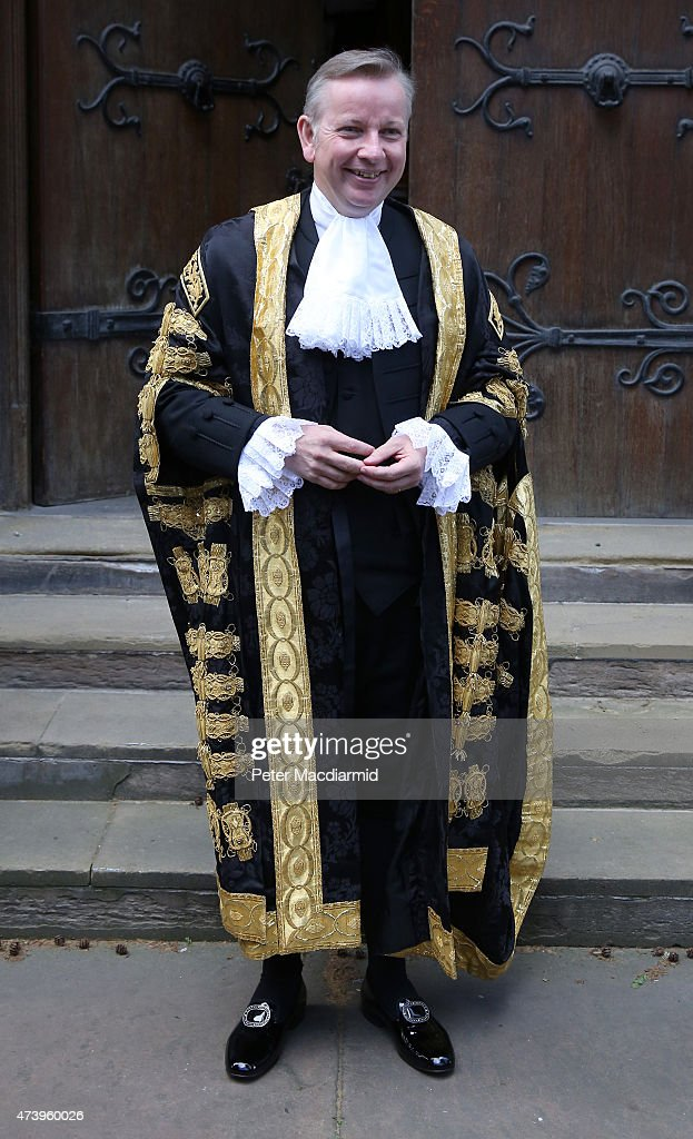 <a gi-track='captionPersonalityLinkClicked' href=/galleries/search?phrase=Michael+Gove&family=editorial&specificpeople=2223709 ng-click='$event.stopPropagation()'>Michael Gove</a> arrives at The Royal Courts of Justice to be sworn in as Lord Chancellor on May 19, 2015 in London, England. Mr Gove replaces Chris Grayling as Lord Chancellor and Justice Secretary in the new government.