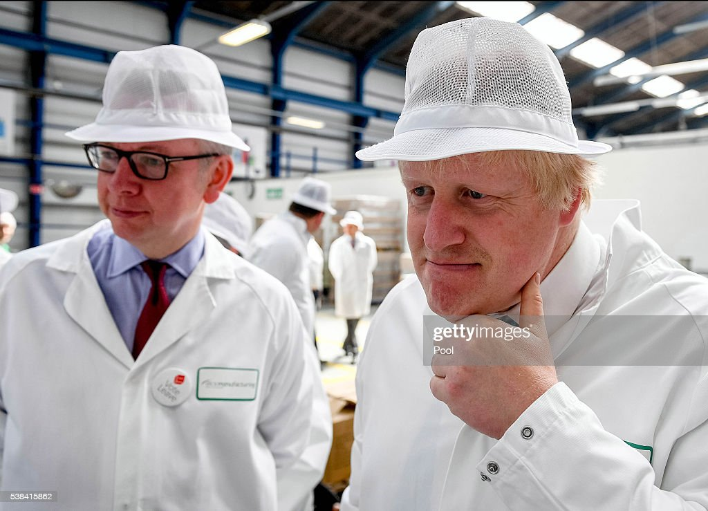 <a gi-track='captionPersonalityLinkClicked' href=/galleries/search?phrase=Michael+Gove&family=editorial&specificpeople=2223709 ng-click='$event.stopPropagation()'>Michael Gove</a> MP and Former Mayor of London <a gi-track='captionPersonalityLinkClicked' href=/galleries/search?phrase=Boris+Johnson&family=editorial&specificpeople=209016 ng-click='$event.stopPropagation()'>Boris Johnson</a> visit the DCS Group, (DCS supply soap and hand wash) as part of the 'Vote Leave' campaign on June 6, 2016 in Stratford-upon-Avon, United Kingdom. <a gi-track='captionPersonalityLinkClicked' href=/galleries/search?phrase=Boris+Johnson&family=editorial&specificpeople=209016 ng-click='$event.stopPropagation()'>Boris Johnson</a> along with Gisela Stuart, John Longworth and <a gi-track='captionPersonalityLinkClicked' href=/galleries/search?phrase=Michael+Gove&family=editorial&specificpeople=2223709 ng-click='$event.stopPropagation()'>Michael Gove</a> had a tour of the DCS Group and went on to speak on the risks of remaining in Europe.